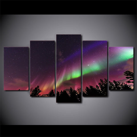 5 Panel Night Lights Landscape Canvas - Urban Street Canvas