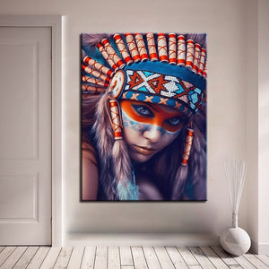 1 Panel Native American Indian Girl Feathered Canvas - Urban Street Canvas