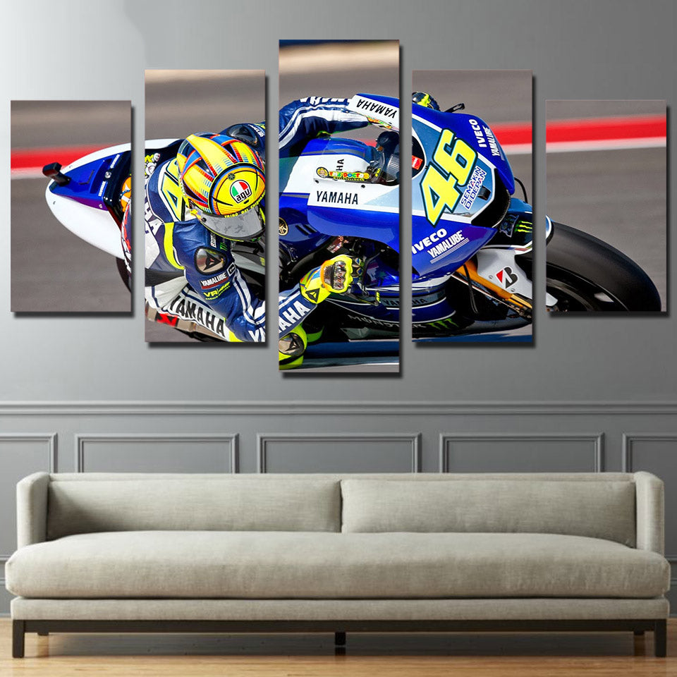 5 Panel Motorcycle Racing Canvas - Urban Street Canvas