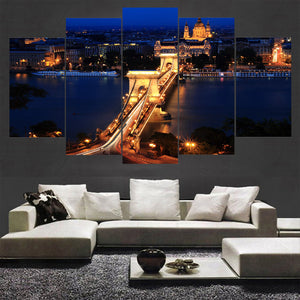 5 Panel London Bridge Night Landscape Canvas - Urban Street Canvas