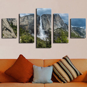 5 Piece Waterfall Landscape Canvas - Urban Street Canvas