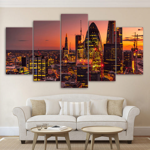 5 Panel London Lights City Canvas - Urban Street Canvas