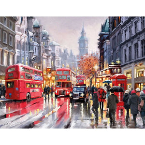 Rainy London Street Canvas 1 Piece