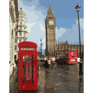London Big Ben, Double Decker Bus Canvas 1 Piece