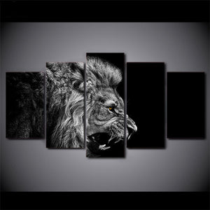 5 Panel Animal Lion Canvas
