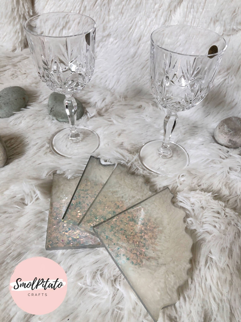 Snowflake - Handmade Quad Agate Coasters (Set of 4)