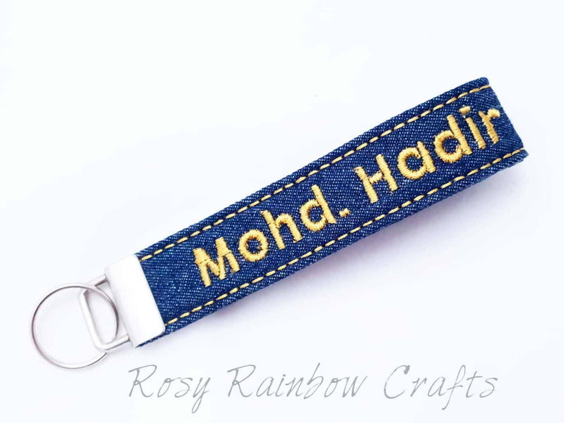 Exclusive Custom Made Embroidery Key Fob Key Chain (Denim Series)