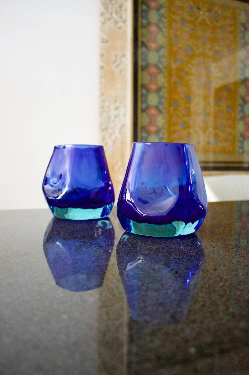 Recycled Blue Glass Vase Candle holder