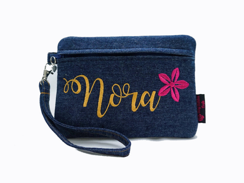 Exclusive Custom Made Embroidery Front Zipper Flat Pouch Large (Denim Series)