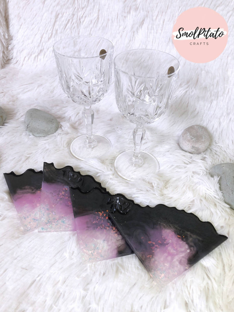 Black Pansy - Handmade Quad Agate Coasters (Set of 4)
