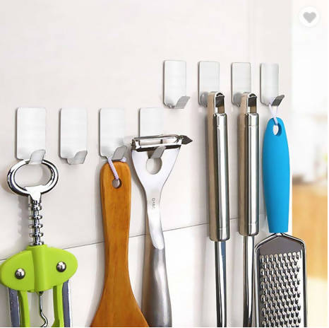 Stainless Steel Self Adhesive Wall Hook - Set of 9