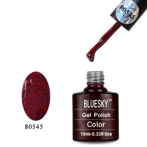80545 Bluesky Soak Off UV LED Gel Nail Polish Ruby Ritz Red Sparkle 545