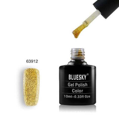 63912 Bluesky Soak Off UV LED Gel Nail Polish Honey Gold Yellow Fine Glitter