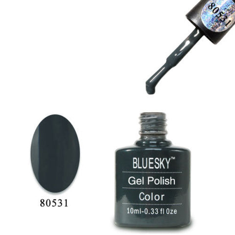 80531 Bluesky Soak Off UV LED Gel Nail Polish Asphalt Charcoal Black Gray
