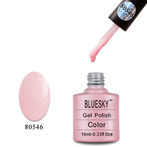 80546 Bluesky Soak Off UV LED Gel Nail Polish Grapefruit Sparkle Spring Pink