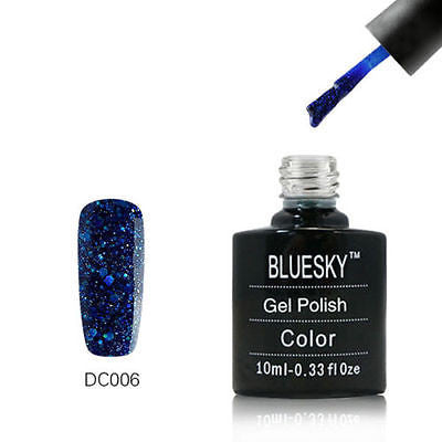 DC006 Bluesky Soak Off UV LED Gel Nail Polish Dance Range Royal Blue Snowflakes