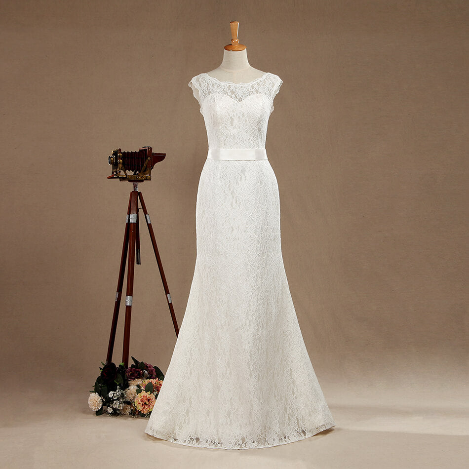 Mermaid Trumpet Bateau Neck Floor Length Lace Wedding Dress