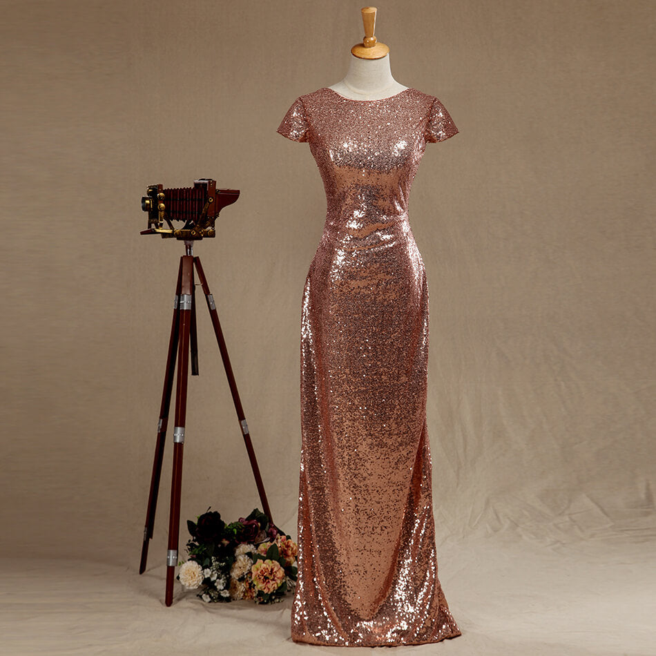 Rose Gold Sequins Bridesmaid dress Cowl Back Cap Sleeves Scoop neck