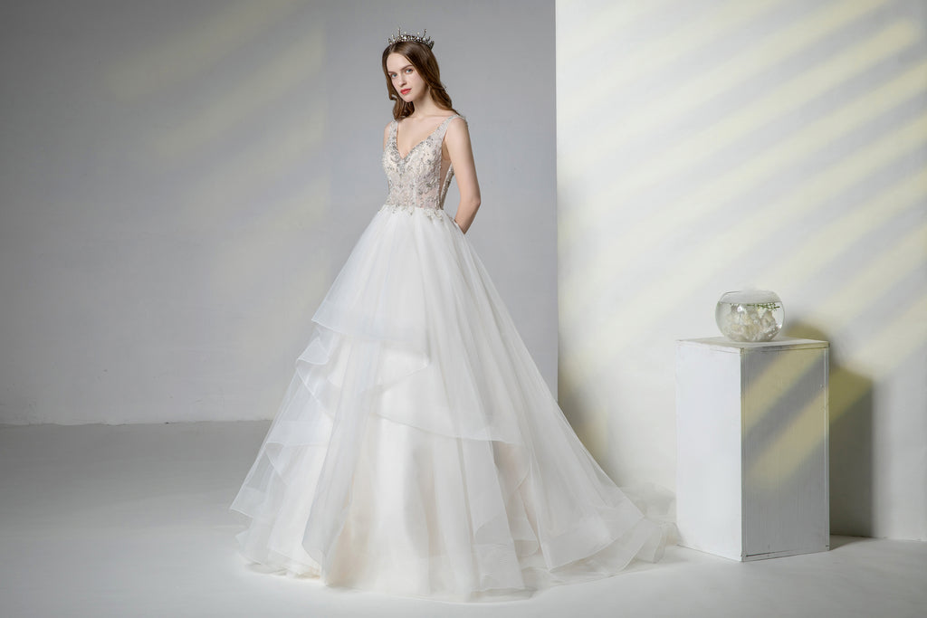 V-Neck A-line Gown with Beads Bodice, Sexy Open Back ,Dramatically Stunning Tiered Tulle Skirt