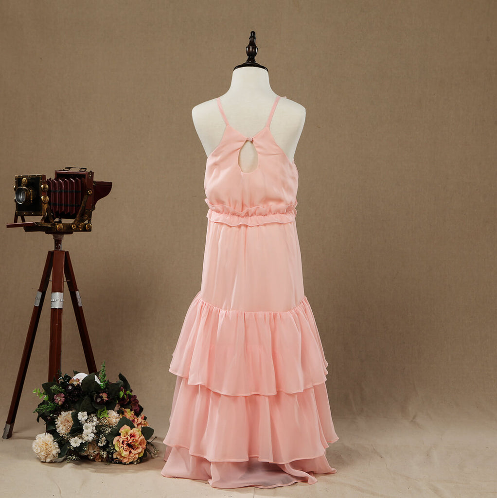 A-Line Long Chiffon Flower Girl Dress Jewel Flower Neck Spaghetti straps with Tiers back