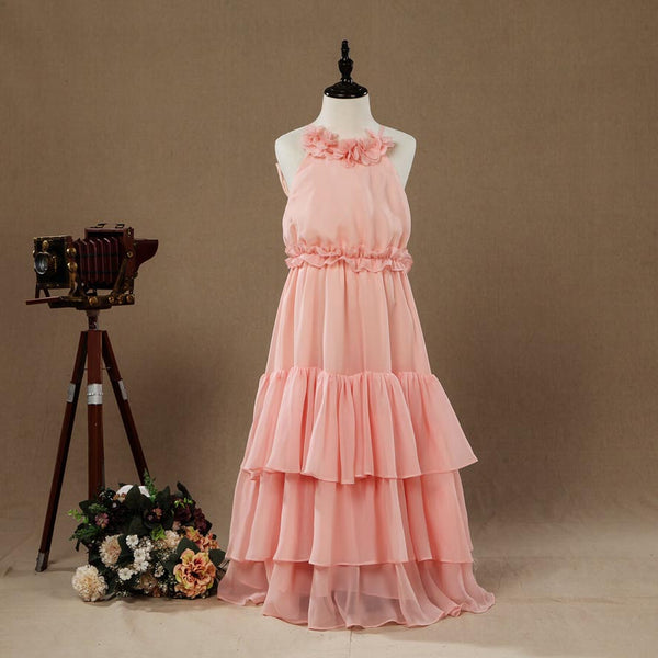 A-Line Long Chiffon Flower Girl Dress Jewel Flower Neck Spaghetti straps with Tiers