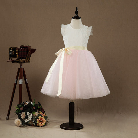 A-line Knee-length Flower Girl Dress Lace match Tulle Sleeveless Jewel Neck with Belt