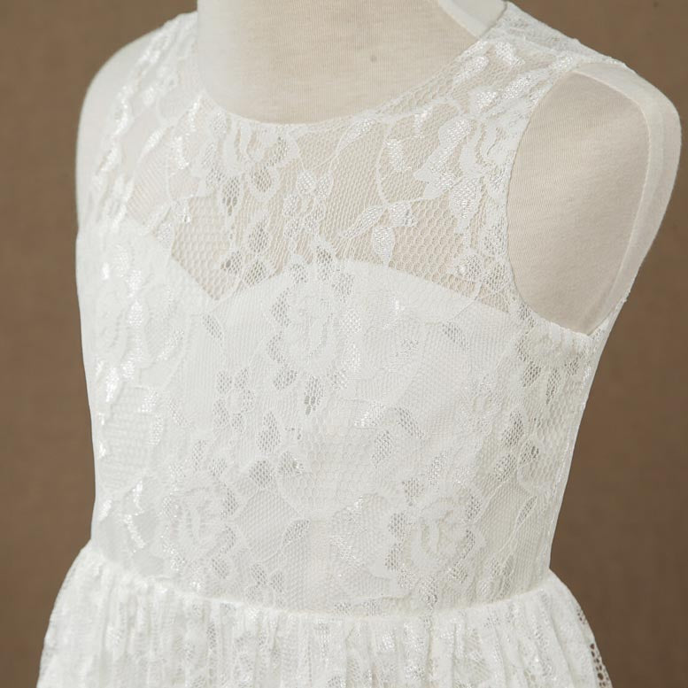 A-line Lace Flower Girl Dress Jewel Neck Sleeveless