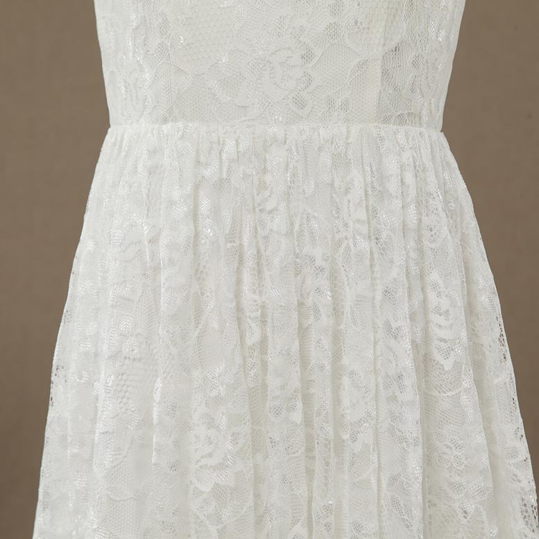 Tea-length Lace Flower Girl Dress Jewel Neck