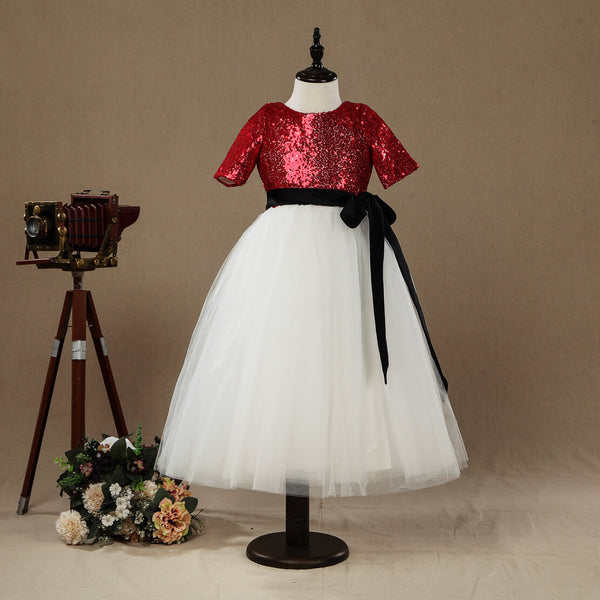 A-line Tea-length Flower Girl Dress Tulle match Sequins Short sleeves Jewel Neck with Belt