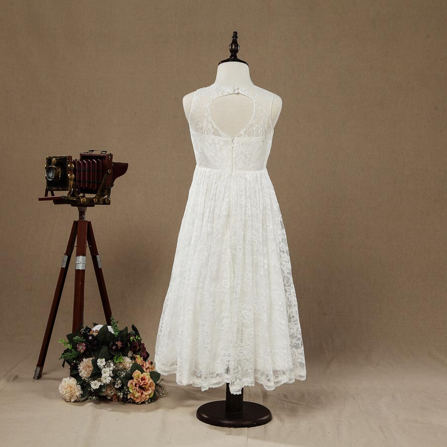 A-line Tea-length Lace Flower Girl Dress Jewel Neck Sleeveless back