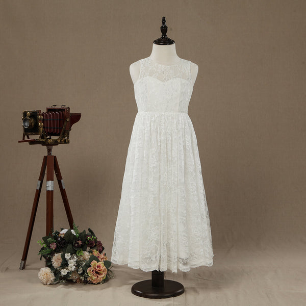 A-line Tea-length Lace Flower Girl Dress Jewel Neck Sleeveless