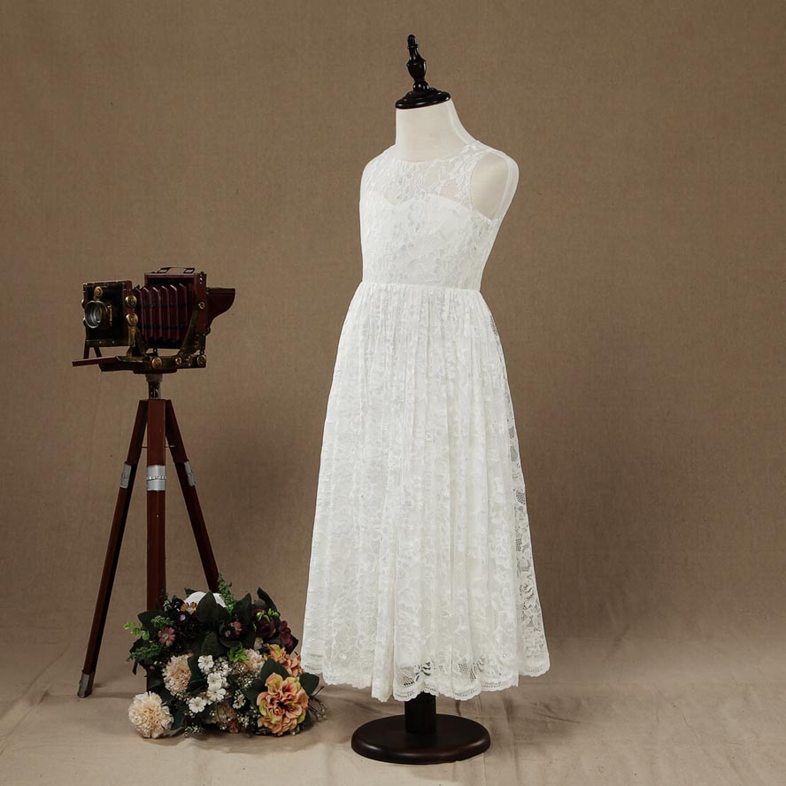 A-line Tea-length Lace Flower Girl Dress Jewel Neck