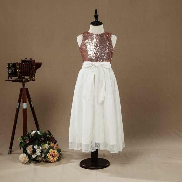 Rose Gold Sequins Ivory Lace A line Flower Girl Dress