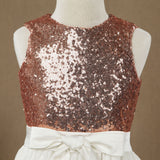 Rose Gold Sequins Ivory Lace A line Flower Girl Dress-3