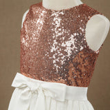 Rose Gold Sequins Ivory Lace A line Flower Girl Dress-5