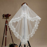 Wedding Veil One-tier Fingertip Lace Applique Tulle3