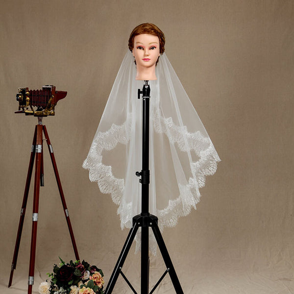 Wedding Veil One-tier Fingertip Lace Applique Tulle