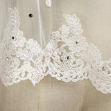 Wrap Shrugs Shawls Tulle Wedding Party Appliques Flower Lace with Beading