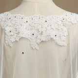 Wrap Shrugs Shawls Tulle  Evening Appliques Flower Lace with Beading