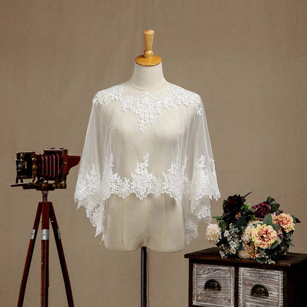 Women's Wrap Shrugs Shawls Tulle Wedding Party Appliques Flower Lace Wedding Capelets