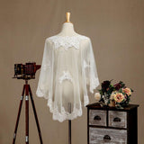 Women's Wrap Shrugs Shawls Tulle Evening Appliques Flower Lace with Beading