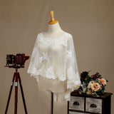 Women's Wrap Shrugs Shawls Tulle Wedding Party Appliques Flower Lace with Beading