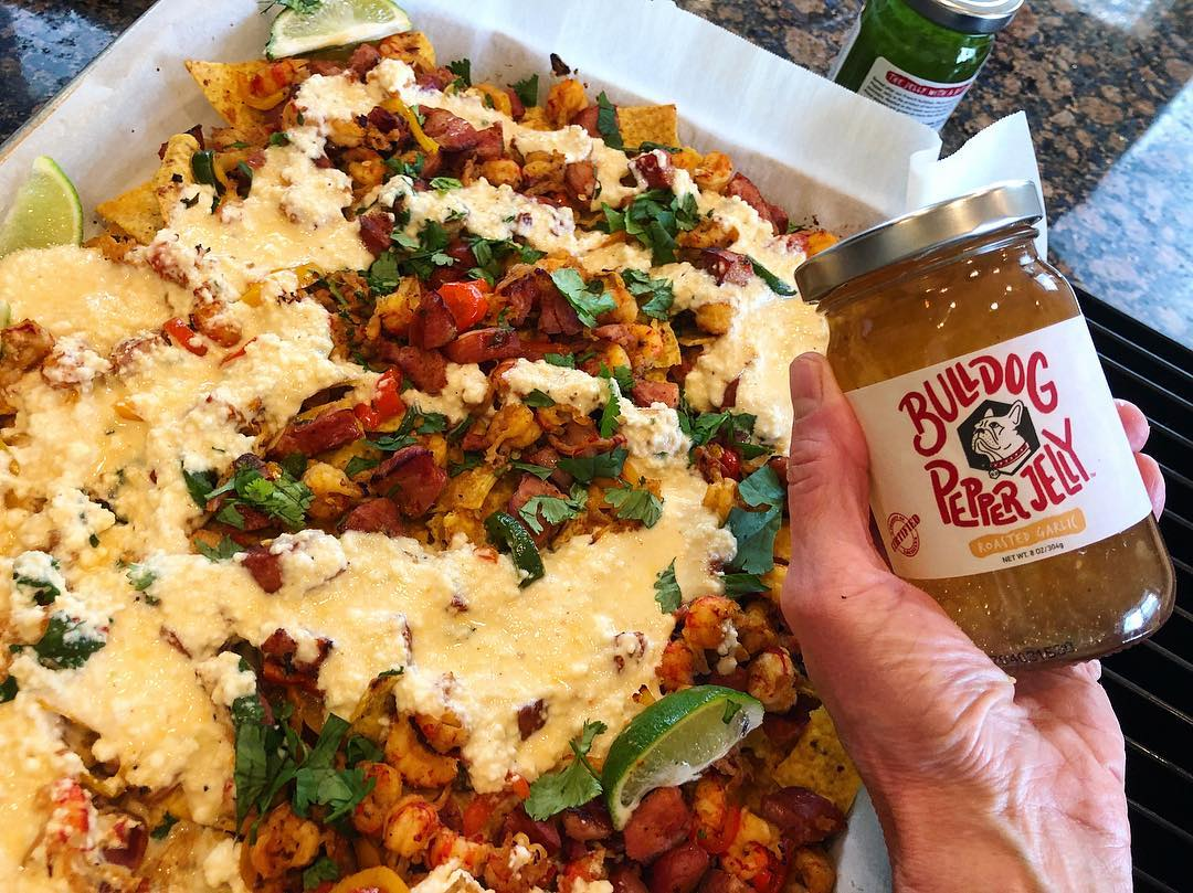 Crawfish Nachos with Rroasted Garlic Pepper Jelly