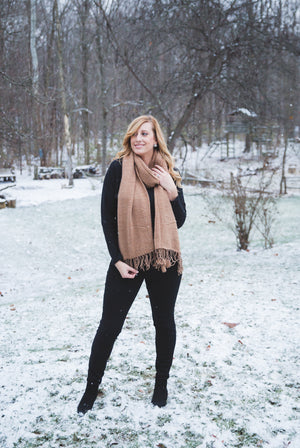 Willow Tassel Scarf in Camel