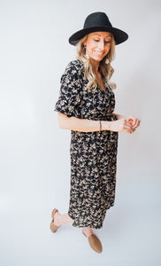 Halle Floral Wrap Slit Dress