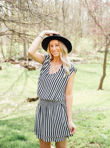Skylar Waist Smocking Stripe Dress