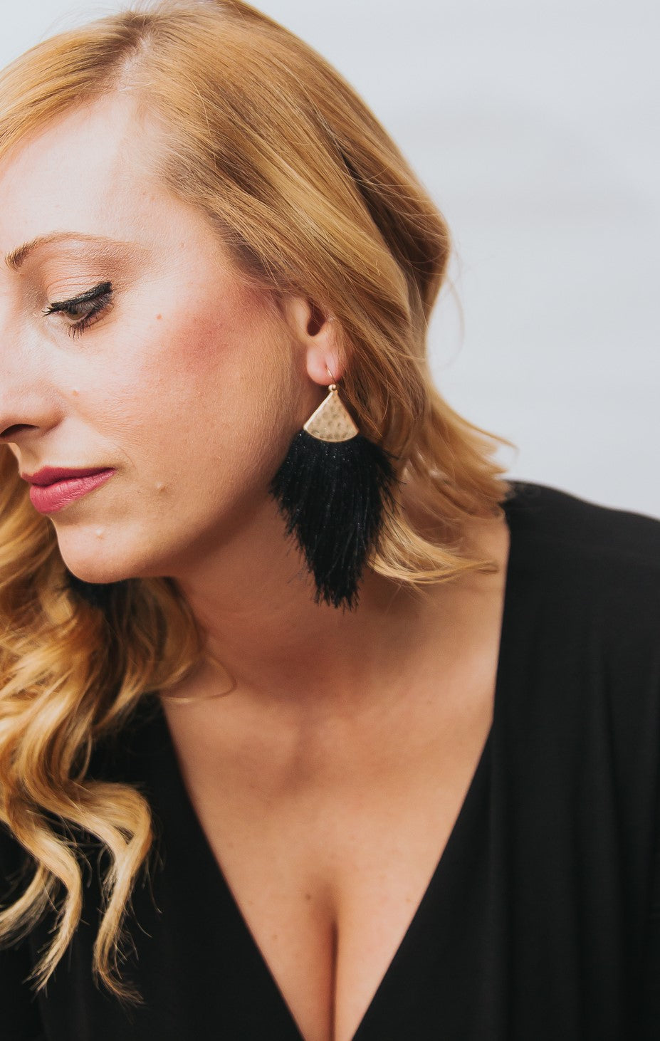 Isabella Tassel Earrings in Black and Ivory