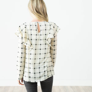 Tori Printed Top in Ivory