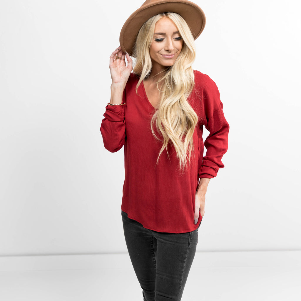 Ayven Long Sleeve Top in Rust