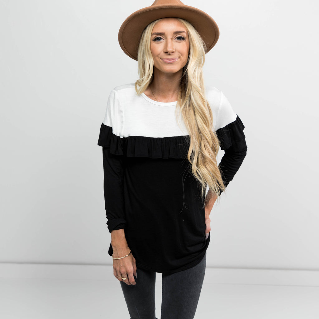 Colorblock Ruffle Long Sleeve Top